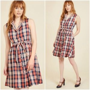 ModCloth Community Brunch Plaid Shirtdress L